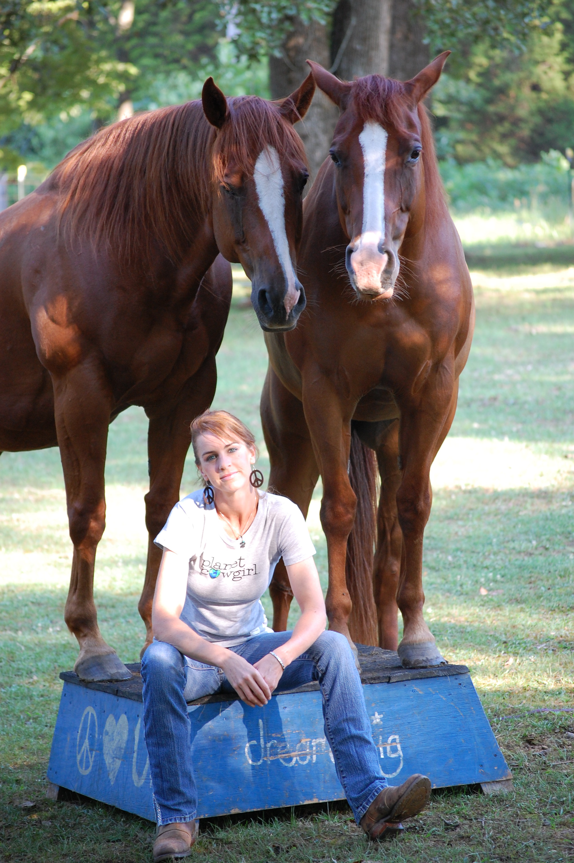 Templeton Thomposon and her horses, Jane and Beau.
