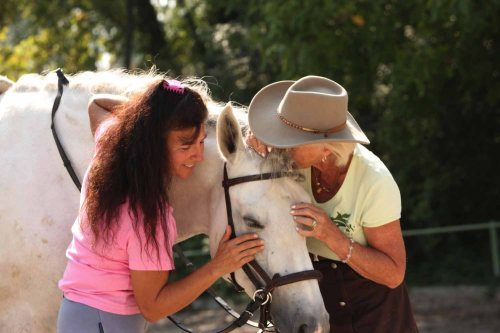Magali Delgado and Linda Tellington-Jones perform Raccon TTouches on one of Magali's horses.