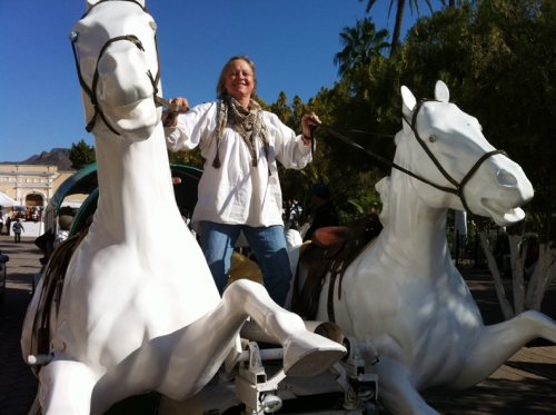 Laura rides whenever and wherever she can!