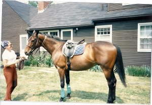 Author Linda Snow McLoon and one of her OTTBs, Gamekeeper.