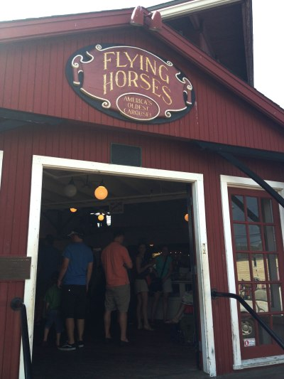 The Flying Horses carousel lives in a red barn on Martha's Vineyard.