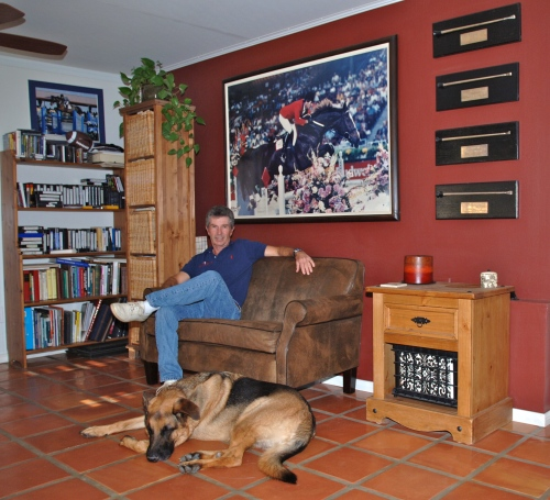 Bernie in his library at home--he has a large personal collection of books and DVDs from which he's gleaned information over the years.
