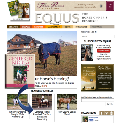 Click the image above to read the excerpt from CENTERED RIDING 2 on EQUUS Magazine's new website!