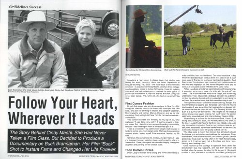 Check out the feature about Cindy Meehl and 7 CLINICS WITH BUCK BRANNAMAN in the April issue of Sidelines Magazine
