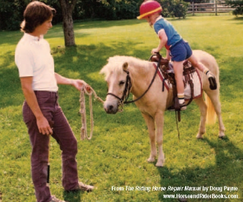 "Doug Payne grew up in a very horsey family. Here he is with his mom and ""Popcorn."""