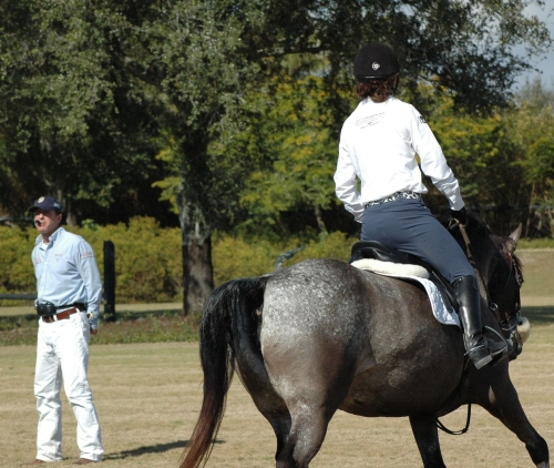 On tour, Daniel spends many hours a day in the ring, coaching riders.