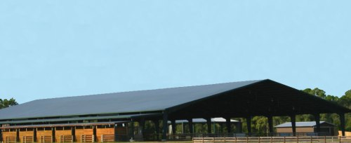 Pioneer Trail Reserve is a spacious and well-appointed equestrian facility, with a large covered arena and luxurious clubhouse.