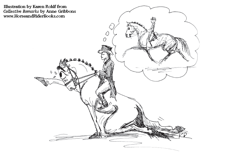 """Dressage judges see a lot of """"faking it"""" when it comes to extended trot. Illustration by Karen Rohlf from COLLECTIVE REMARKS."""