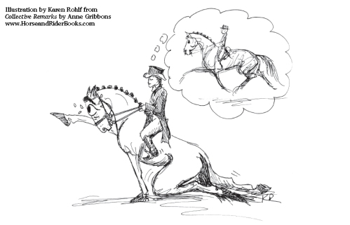 "Dressage judges see a lot of ""faking it"" when it comes to extended trot. Illustration by Karen Rohlf from COLLECTIVE REMARKS."