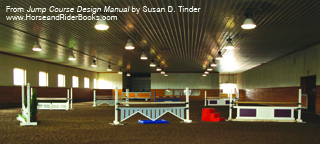 Setting courses in indoor arenas can present challenges in terms of space. TSB author Susan Tinder does not use wing standards in her indoor arena (pictured here), and she only uses 10-foot poles. Shorter poles not only conserve space, they have the added training benefit of forcing you to jump the center of each jump. You will find that after regularly schooling over 10- or 8-foot poles, the 12-foot poles used at horse shows appear very inviting.