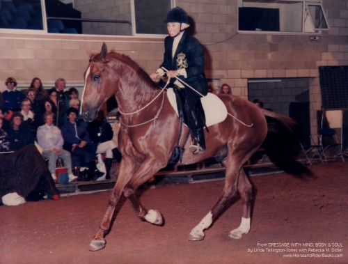 Linda Tellington-Jones in 1995 riding Gershwin, at the time one of British Olympian Carl Hester's mounts, bridleless.