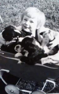 TSB author Susan Gordon, surrounded by puppies.