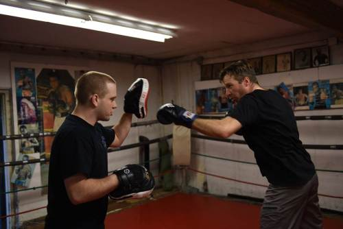 Jonathan in training at the Boxing Club. Photo by Angie Field.