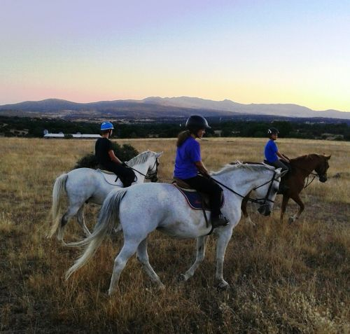 Black riding with her two sons on a recent trip to Spain.