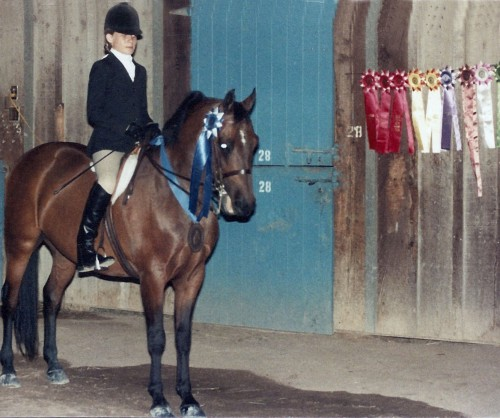 TSB author Jessica Black on her first Morgan, Capella Command, at the Morgan Medallion Classic in 1982 or '83.