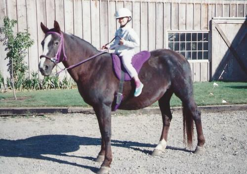 Kelsey, four years old, on the Morgan Lady at Inavale Farm.